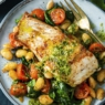 Hake with kidney bean sauté